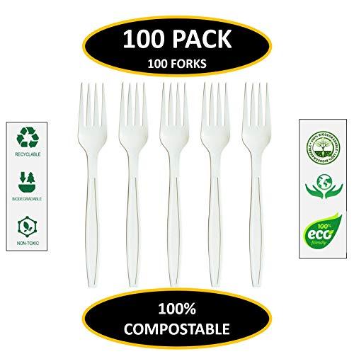 jiware. COM-zertifiziert kompostierbar biologisch abbaubar Besteck (100Zählen), hergestellt aus Maisstärke ()
