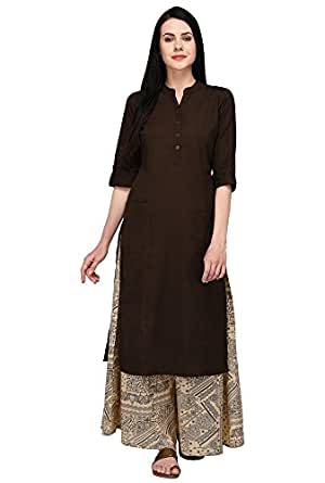 Pistaa's Women's Solid 2 Patch Pocket Kurta with Palazzo Bottom Set (Brown, X- Small)