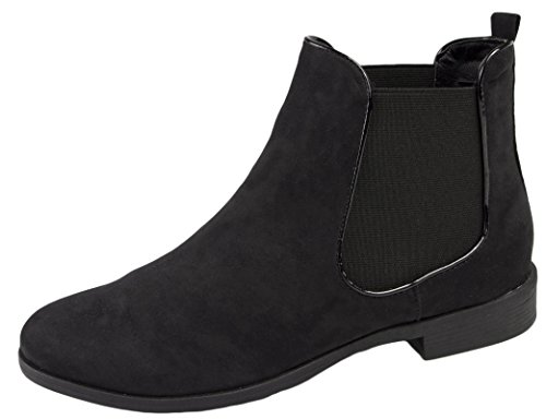 womens-faux-leather-suede-flat-low-heel-gusset-chelsea-ankle-boots-ladies-girls-shoes-size-uk-3-8