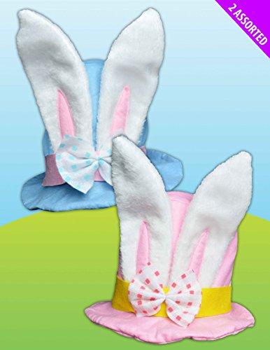 Rosa o azul conejo de Pascua fieltro sombrero de copa