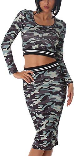 Voyelles Damen Camouflage Flecktarn Militär-Optik Zweiteiler Set bauchfrei Bolero-Top Langarm & Rock High-Waist Hoher Bund Stretch, 34/36 Bolero Set