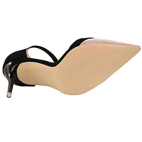 Oasap Women's Pointed Toe Ankle Strap Color Block Stiletto Pumps blue