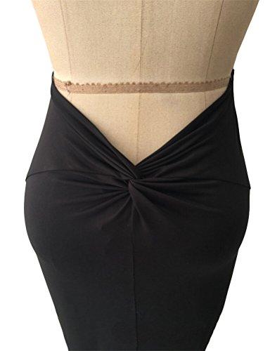 Brinny Femme Sexy Deep V Robe Maxi Bretelle Dos nu Queue de poisson Swing Moulante Longue Robe de Partie de banquet de cérémonie Noir / Blanc / Rouge Noir