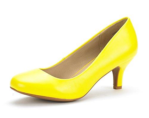 DREAM PAIRS LUVLY Damen Pump mit Niedriger Absatz Braut Hochzeit Party Schuhe Gelb Pu 37 EU (Gelbe Schuhe Mit Absätzen Für Frauen)