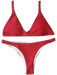 Honestyi Bikinis de Color sólido Mujeres Push-up Sujetador con Relleno Vendaje Bikini Conjunto Traje