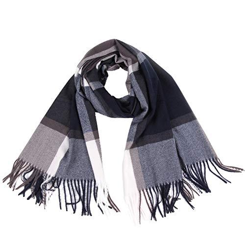 Xmiral Damen Plaid Schal Quaste Wrap Tücher Stirnband Soft Winter Warm Long Scarf(Grau)