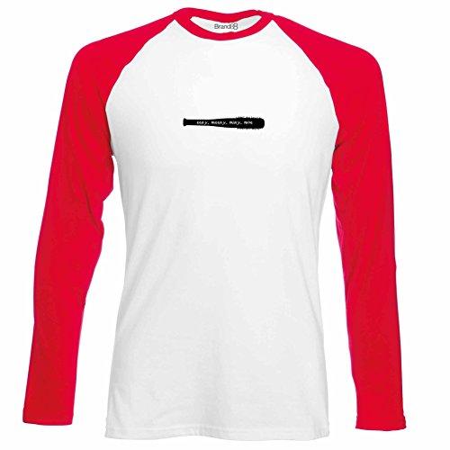 Brand88 - Eeny, Meeny, Miny, Moe, Langarm Baseball T-Shirt Weiss & Rot