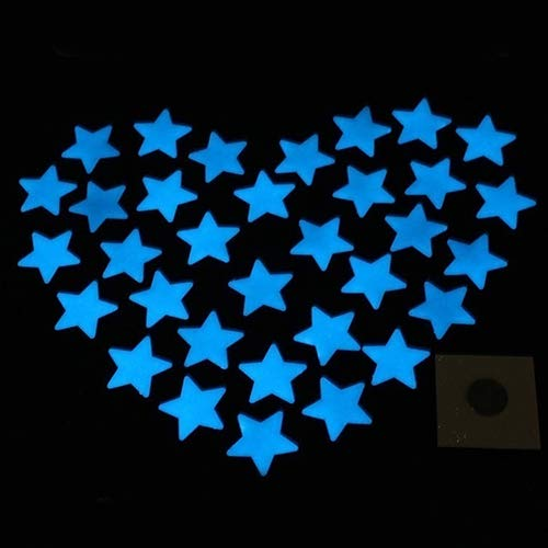 FOReverweihuajz 100pcs 3cm Leuchtende Sterne Kunststoff-Wandaufkleber, Glühen in der Dunklen Kinder Kinderzimmer Wand Decal (Glühen In Dunklen Der)