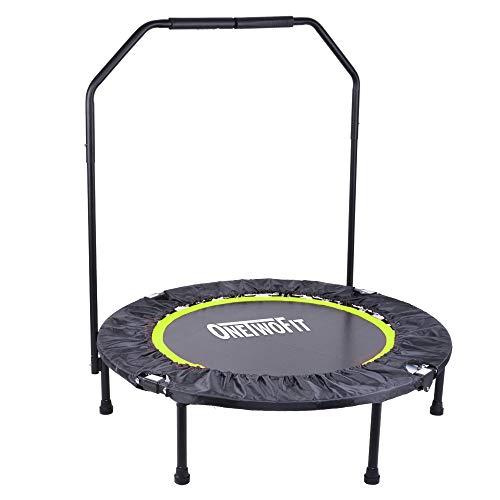 Onetwofit trampolino da fitness pieghevole da 100 cm con bracciolo per uso all'esterno e all'interno, adatto per bambini di età superiore a 8 anni e per adulti, capacità di carico: 150 kg ot087