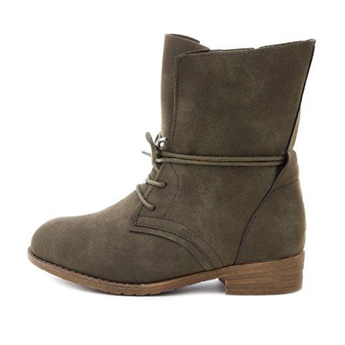 Damen Stiefel Stiefeletten Schnür Boots Lederoptik Grün Vertigo