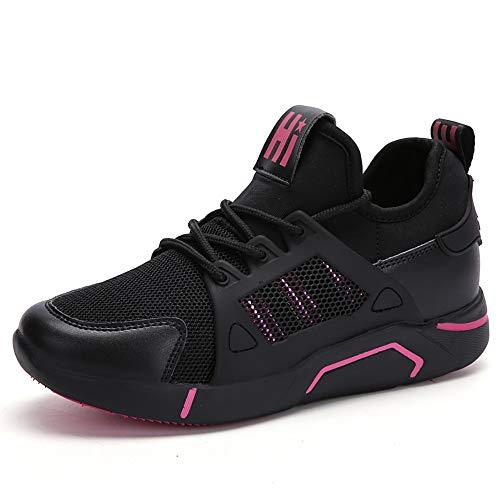 PAMRAY Donna Scarpe da Ginnastica Sportive Piattaforma Jogging Sneakers da Corsa Aumentata Palestra Allacciare Casual Fondo Alto 5cm Maglia Nero-Rosso 36