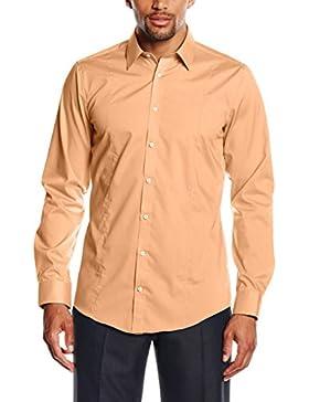Venti Hemd Orange Uni Langarm Body Stretch Extra Schmal Kentkragen 100% Feinste Baumwolle Bügelfrei