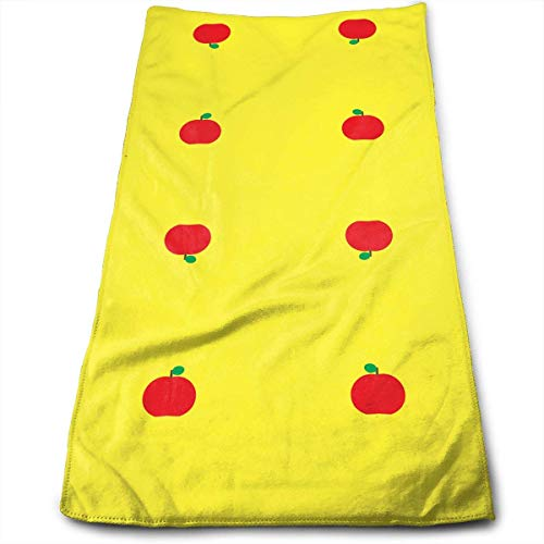Apple Cotton Cap (Fantastic Red Apple Yellow Kitchen Towels - Dish Cloth - Machine Washable Cotton Kitchen Dishcloths,Dish Towel & Tea Towels for Drying,Cleaning,Cooking,Baking (12 X 27.5 Inch))