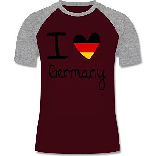 Shirtracer Fußball-WM 2018 - Russland - I Love Germany - Herren Baseball Shirt Burgundrot/Grau meliert