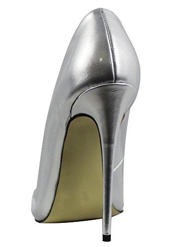 Monicoco Oversize Scarpe Da Donna Scarpe A Punta Stiletto Per La Festa Nuziale Argento Pu