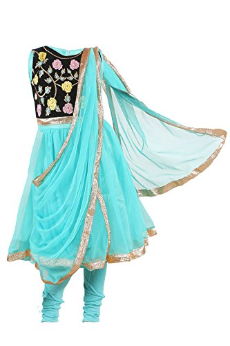 JBN Creation Girls Turquoise Kurti And Leggings Set With Floral Embroidery On Yoke (Size: 7-8 Years)