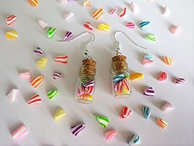fiole bonbons berlingot blanc et multicolores boucle d oreille bijou gourmand