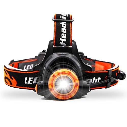 LED Stirnlampe Kopflampe USB Wiederaufladbare - Superheller Wasserdicht Leichtgewichts Stirnlampe, 1000Lumen, Zoom Beleuchtung, 3 Modi, 90° Verstellbar Perfekt fürs Angeln, Joggen, Kinder, Camping