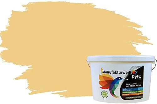 RyFo Colors Bunte Wandfarbe Manufakturweiß Safrangelb 10l - weitere Gelb Farbtöne und Größen erhältlich, Deckkraft Klasse 1, Nassabrieb Klasse 1