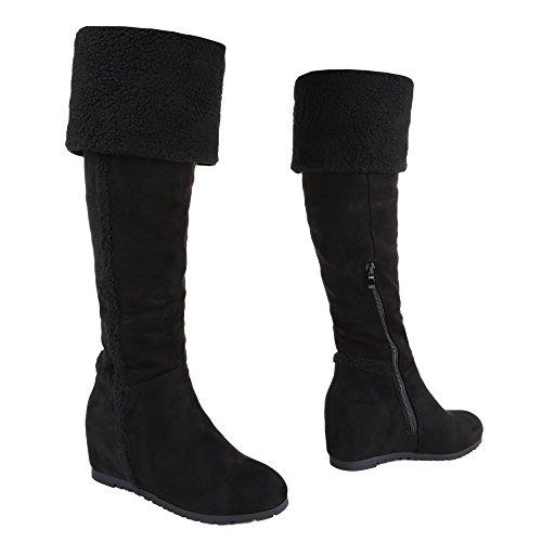 Ital-Design Overknee Stiefel Damen Schuhe Klassischer Stiefel Keilabsatz/ Wedge Keilabsatz Reißverschluss Stiefel Schwarz