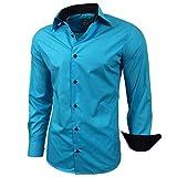 Kontrast Business Anzug Freizeit Polo Slim Fit Figurbetont Hemd Langarmhemd R-44, Farbe:Türkis;Größe:M