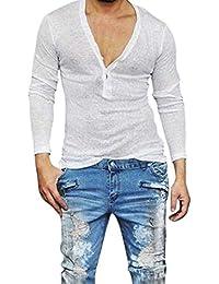 5ffd615d3f8a Herren Langarmshirts Herren Casual Slim Fit Sommer V Ausschnitt Tiefem  Langarm T Mode Marken Shirt Grundlegende Shirt Herren…