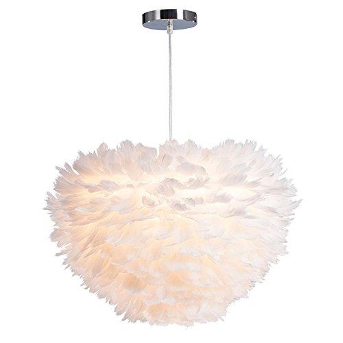 Moderne Einfach Runde Weiß Feder-Decke Pendelleuchte Schatten für Wohnzimmer Esszimmer Schlafzimmer , kleine
