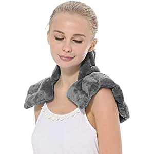 Aroma Season Heated Neck and Shoulder Wrap, Shoulder Neck Pain Relief, Arthritis Relief, Heated Neck Pillow, Heating Pad, Body Wrap, Microwaveable, Warm Compress (Grey).