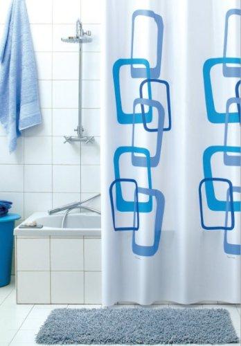 Duschvorhang Quadro Nero blau 120cm breit x 200cm lang, Vinyl , weiß mit verschiedenen Blautönen inkl. Ringe (Duschvorhang Vinyl Blau)