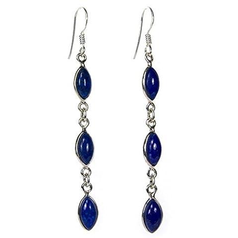 Boucles d'oreilles pendantes lapis-lazuli en argent - Taille des pierres