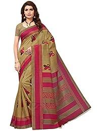 Indira Designer Women's Cream Synthetic With Blouse Printed Saree (Cream_Free size)