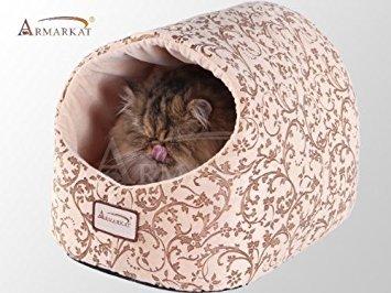 Armarkat Katzenbett-Beige mit Blumenmuster, 18