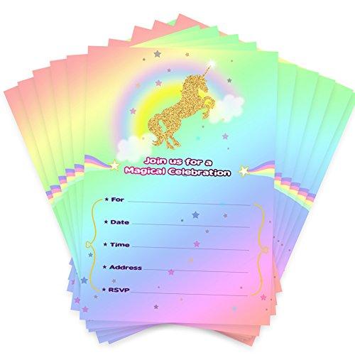 Aytai 20pcs Rainbow Unicorn Geburtstagseinladungen mit Umschlägen und Thank You Aufkleber, Goldfolie Einhorn Geburtstagskarten für Kinder Einhorn Thema Party Baby-Dusche-Supplies (Wolke)