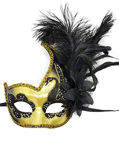 Flywife Pluma Mascarada Máscara Halloween Mardi Gras Cosplay Trajes Veneciano Fiesta Máscara (Oro Negro)