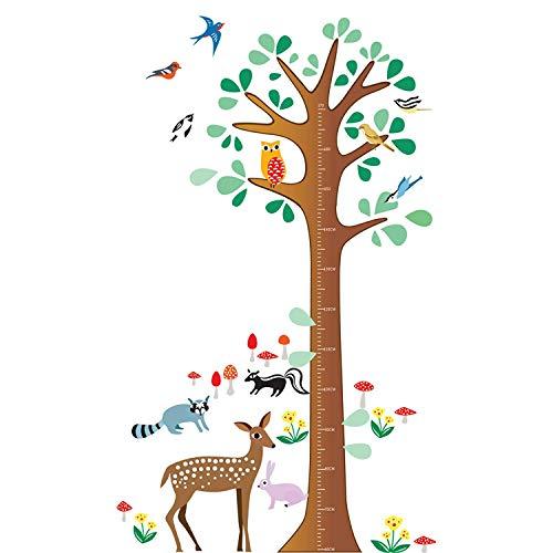 Wandtattoo Wandaufkleber Wandsticker Kinderzimmer. Messlatte mit Baum und Tiere, Reh, Waschbär, Eule, Vögel, Dachs und Hase. Wandaufkleber für Mädchen oder Jungs Zimmer - Bäume Wandtattoo Rehe