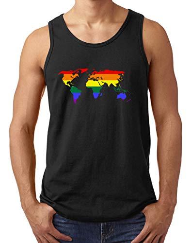 Herren World Map Rainbow Pride Muskelshirt Tank Top T-Shirt Schwarz XL (Map Tank)