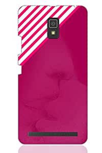 AMAN Pink Line Design with Image 3D Back Cover for Lenovo A6600