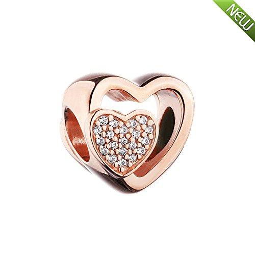 PANDOCCI 2017 neue herbst Rose verbunden zusammen herz klar cz perlen authentische 925 sterling silber diy passt für original pandora armbänder charme schmuck