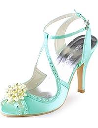 ElegantPark EP11058 Women Peep Toe Pearls Rhinestone Cut outs Satin High Heels Pumps Wedding Sandals Court Shoes