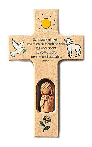 Kinderkreuz aus Holz, mit Tonengel, 'Schutzengel mein, ......'