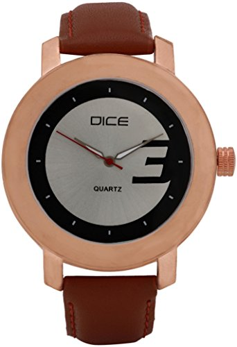 """Dice """"Rose Gold A 6004"""" Casual Round Shaped Wrist Watch For Men. Fitted with Beautiful Black Color Dial, Attractive Case and Anti Allergic Leather Strap."""