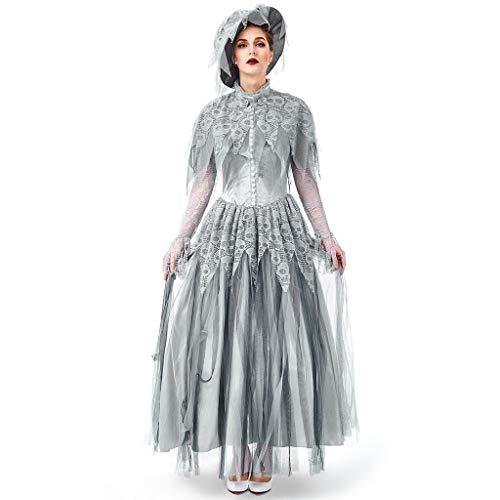 Bearbelly - Geisterbraut Kleid mit Hut, Braut Skelett Brautkleid Damen Kostüm Damen Zombies Kleidung Geisterbraut Halloween Kostüm-Party Fun Uniformen Halloween Kostüm Cosplay - Steampunk Zombie Kostüm
