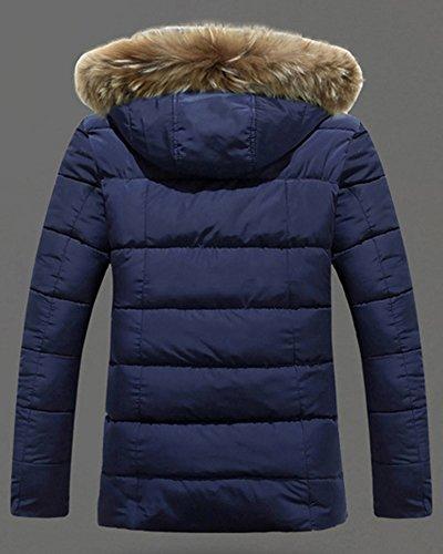 Daunenjacke Herren Parka mit Kapuze Übergangsjacke Jacke Winter Kapuzenjacke Mantel Dunkelblau