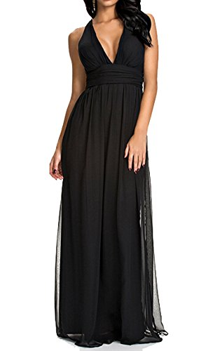 Ghope Femme Robe Long Maxi Soirée Sexy Robe Uni Elegant Sans Manche Ceremonie Mariage Mode Roman Cocktail Noir