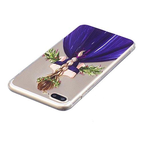iPhone 7 Plus Coque, Voguecase TPU avec Absorption de Choc, Etui Silicone Souple Transparent, Légère / Ajustement Parfait Coque Shell Housse Cover pour Apple iPhone 7 Plus 5.5 (Bouledogue 01)+ Gratuit Fille en jupe violet 01