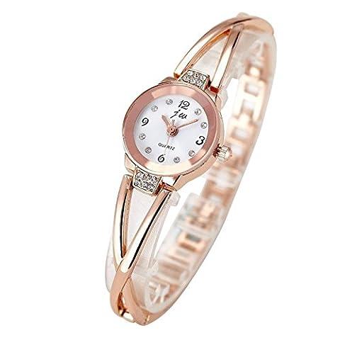 Merssavo Femme Montres bracelet Quartz Analog en Alliage Cadran Rond Blanc Couleur Rose or