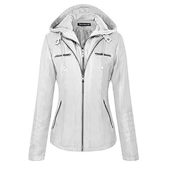 Newbestyle Femme Veste En Cuir Blousons Fermeture Éclair Manteau à Capuche Court Veste - Blanc - X-Small