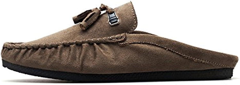 Liuxiaoqing Mens Leder Hausschuhe Startseite Sandalen Ohne Absatz Mokassin Casual Indoor Schuhe