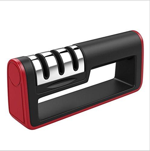 DiDoDs Messerschärfer/Manuelle Messerschärfer mit 3 Stufen, Hartmetallplatten, Diamantrod für All-Size/rutschfeste Base