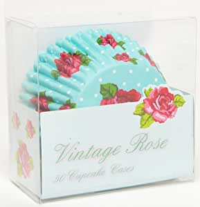 50 x Vintage Rose Cup Cake Cases Muffin Cases - 1 x Pack of 50